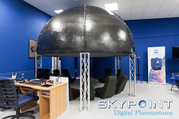 "The Skypoint ""Tecno Dome"" concept dome supported by 4 metallic columns."